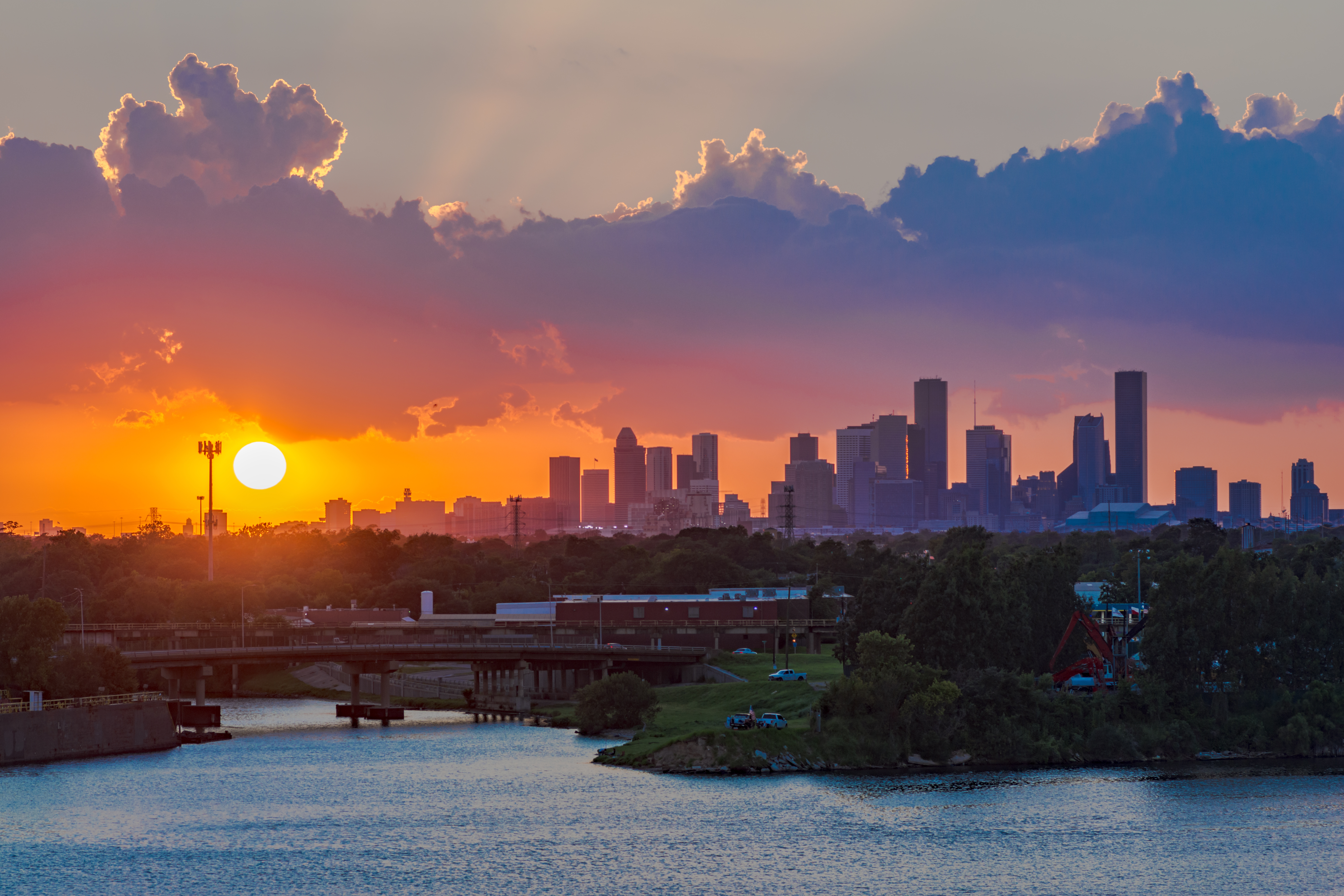 houston skyline and sunset