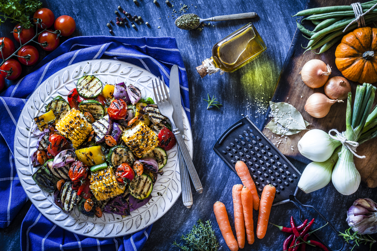 a gorgeous plate of grilled vegetables from a restaurant serving vegetarian cuisine in Houston