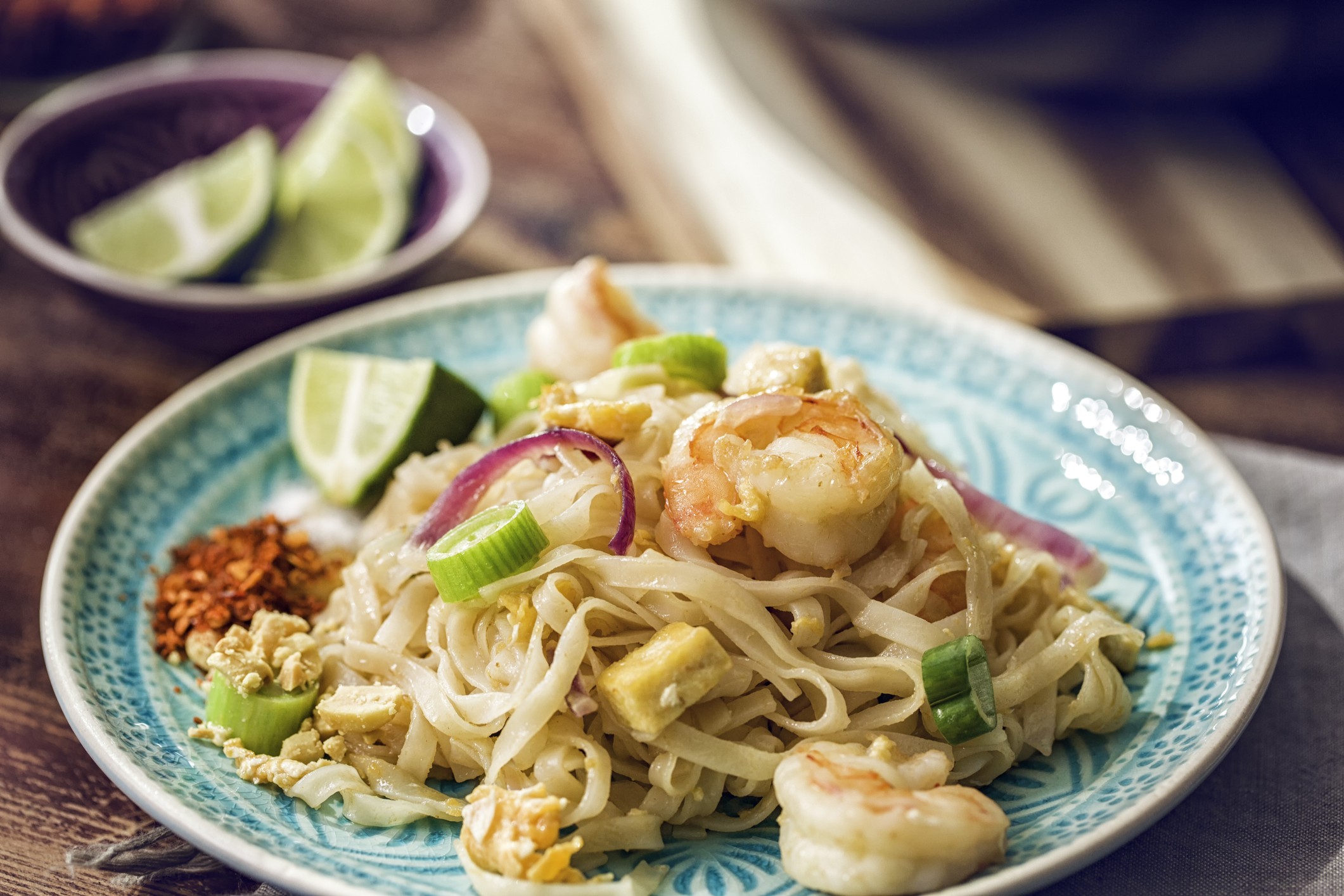 Thai noodles and shrimp