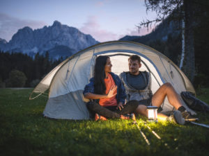 A couple in a tent.